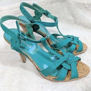 Dollhouse Teal and Cork Stiletto Sandals